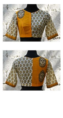 Yellow cotton kalamkari applique blouse-0