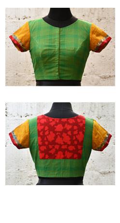Green kanchi cotton blouse-0