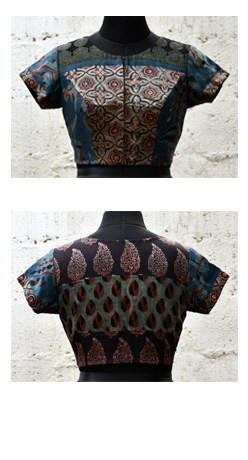 Black and blue ghajji silk blouse-0