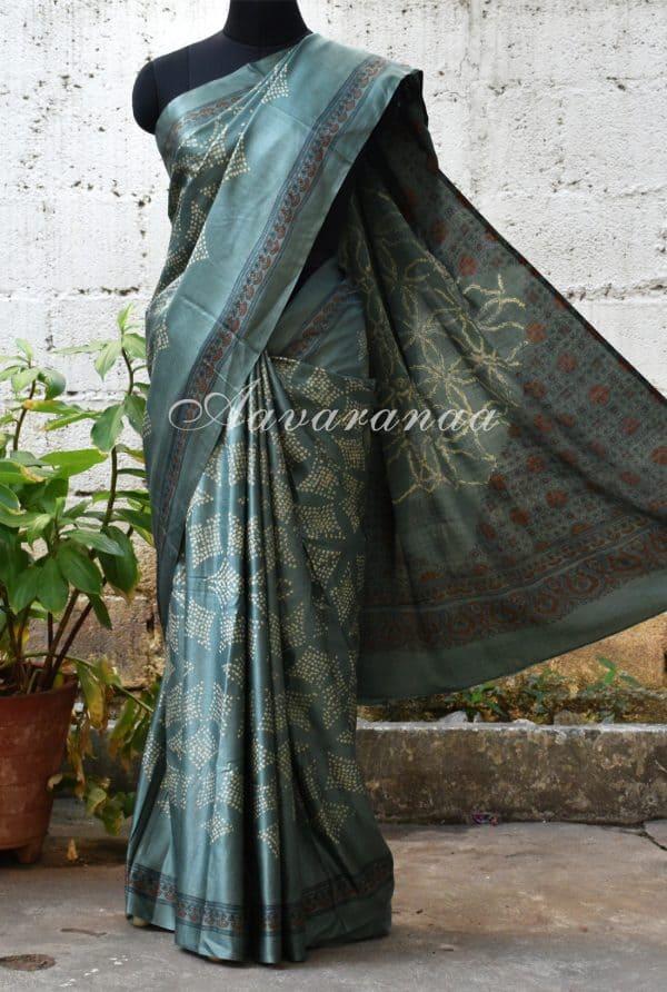 Russian grey gajji silk saree-0