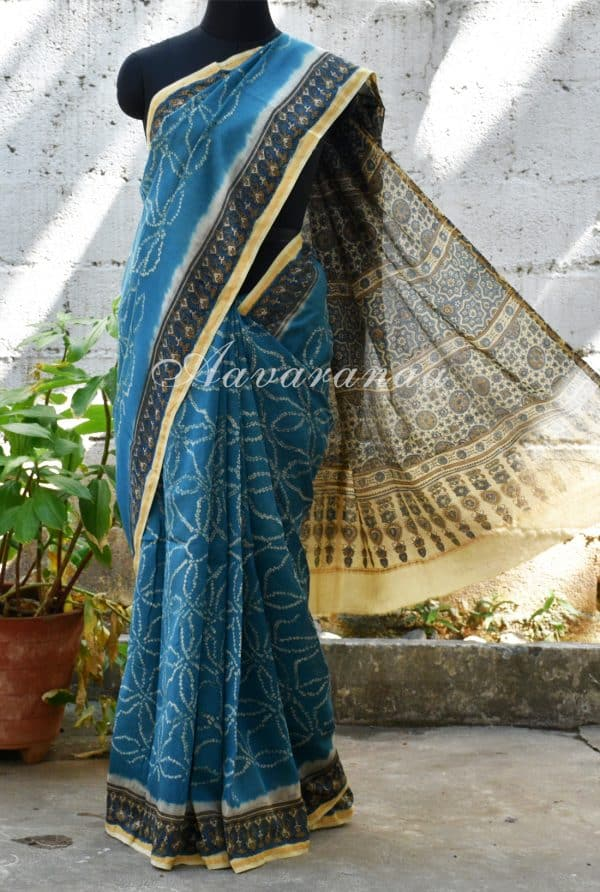 Blue bandhini design chanderi saree-0