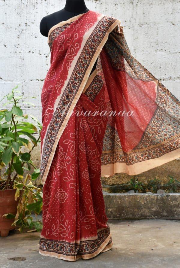Red bandhini design chanderi saree-0