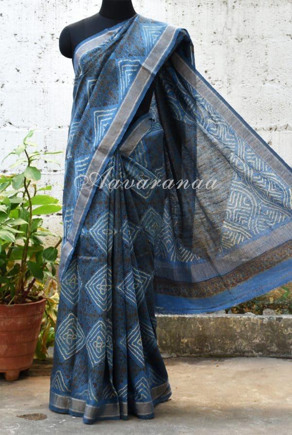 Blue and grey block printed linen saree-0