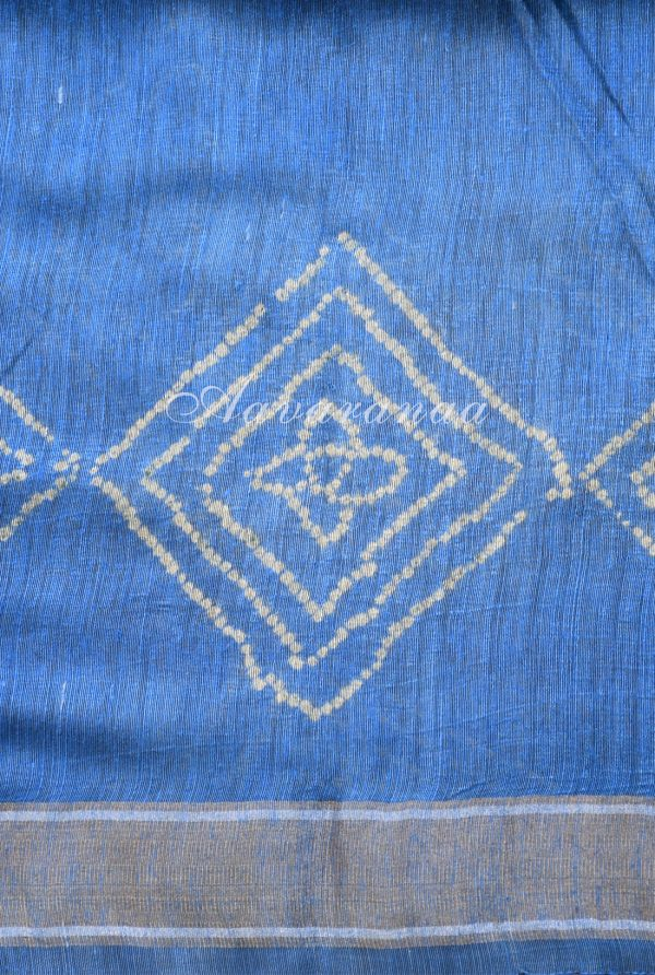 Blue and grey block printed linen saree-19021