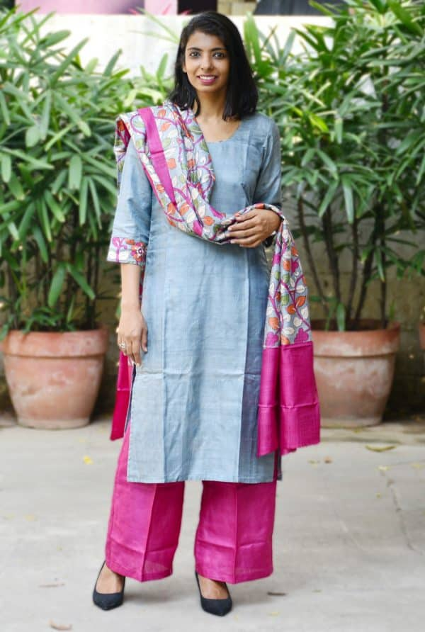 Grey and pink tussar suit-0