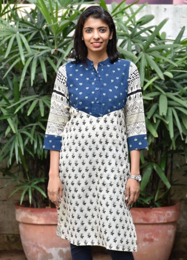 Beige and blue ajrak printed cotton kurta-0