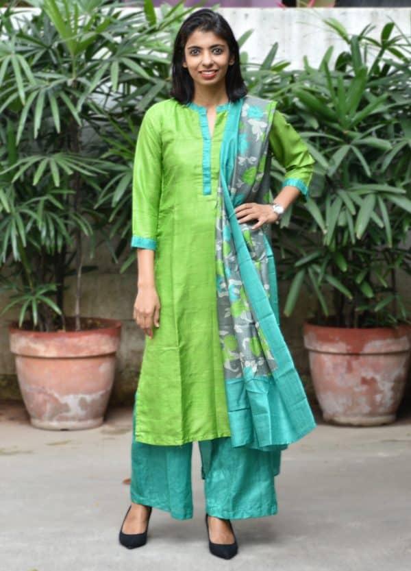 Green block printed tussar suit-0