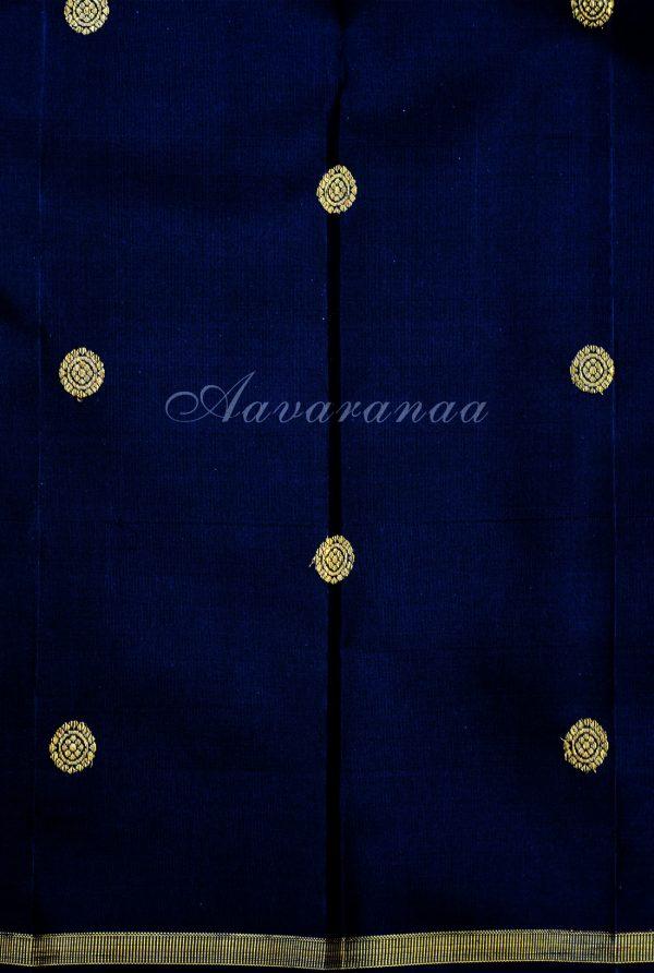 Blue and black kanchipuram silk saree-19183