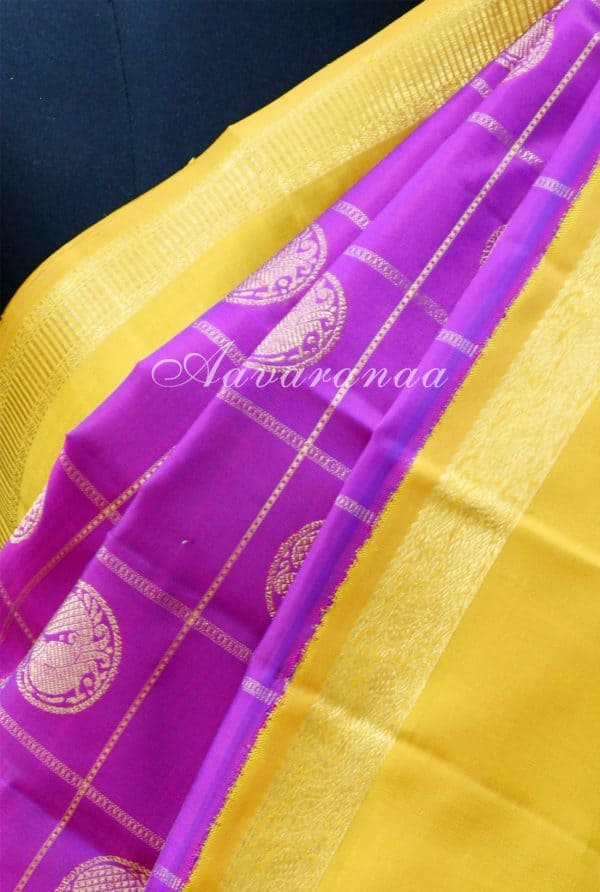 Purple and yellow checks silk saree-19162