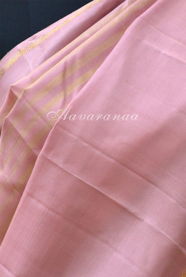 Onion pink kancheepuram silk saree with a rettai pattu border-19175
