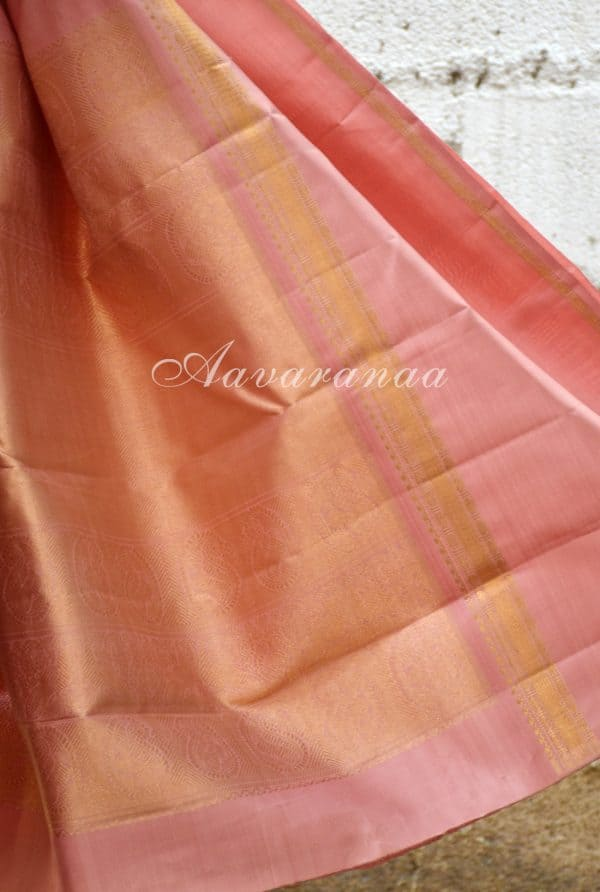Onion pink kancheepuram silk saree with a rettai pattu border-19176