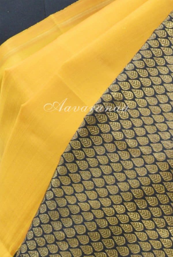 Yellow kanchi silk saree with black border-19180