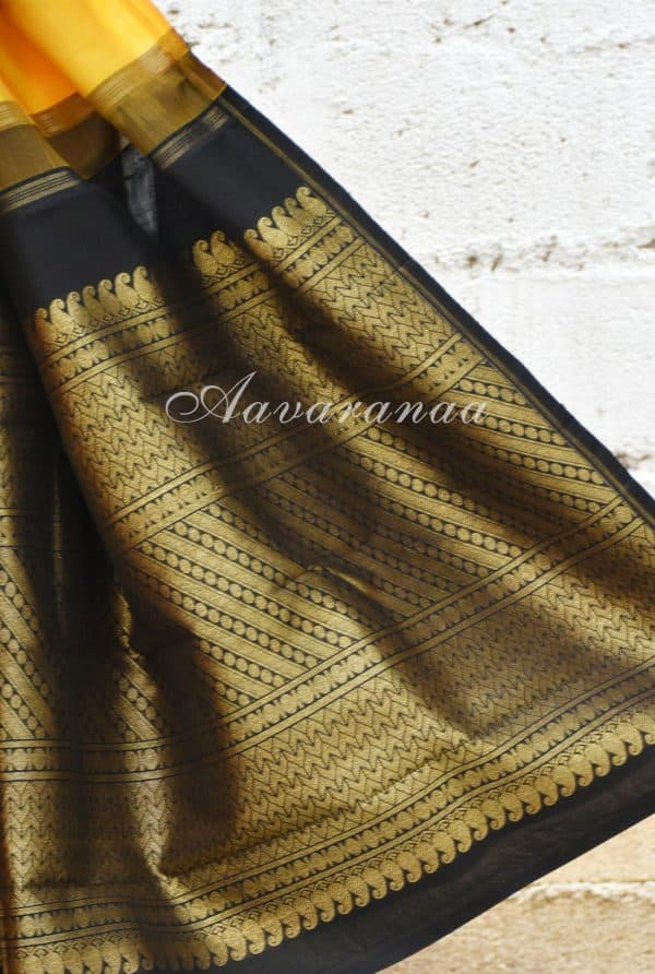 Yellow kanchi silk saree with black border-19181