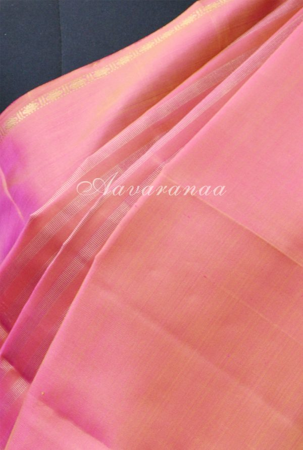 Peach kancheepuram silk saree with a rettai pattu border-19197