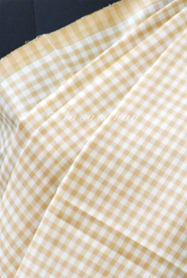 Beige and half white checks silk saree-19207