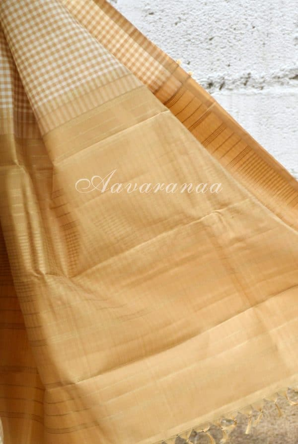Beige and half white checks silk saree-19206