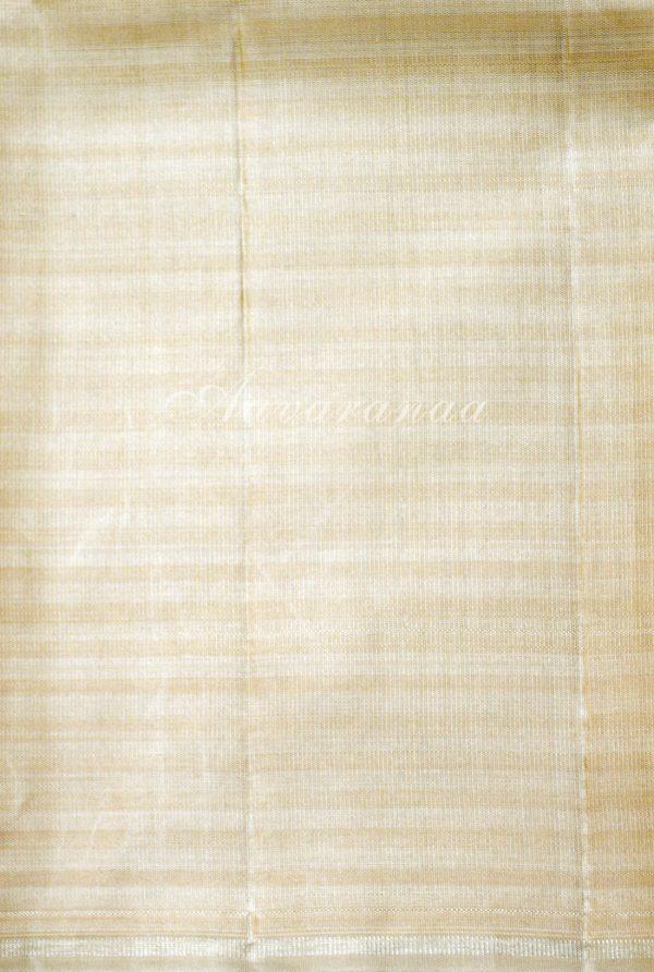 Beige and half white checks silk saree-19208