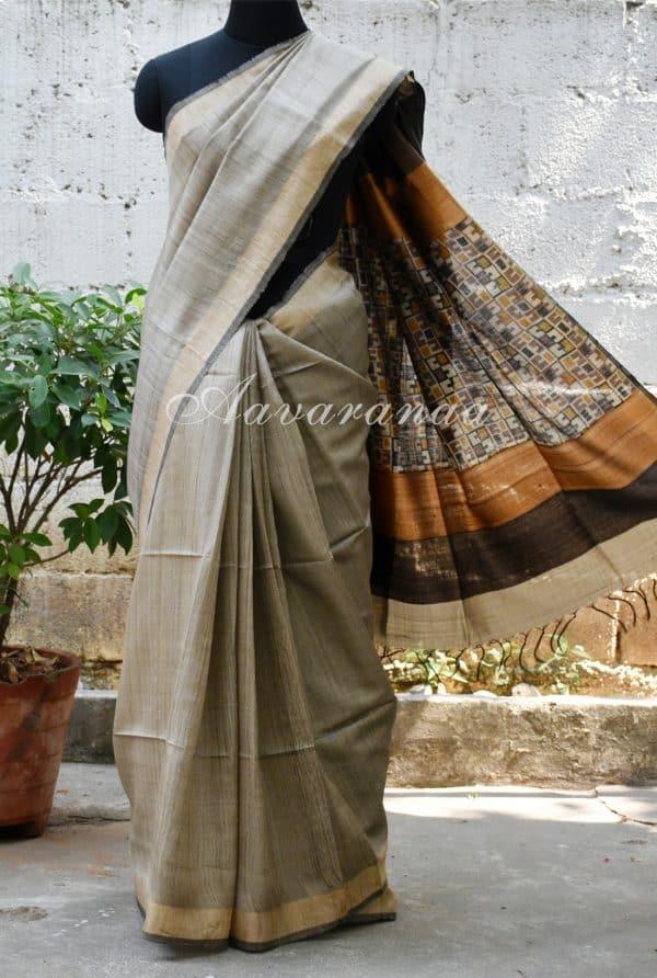 Light grey woven tussar saree-0