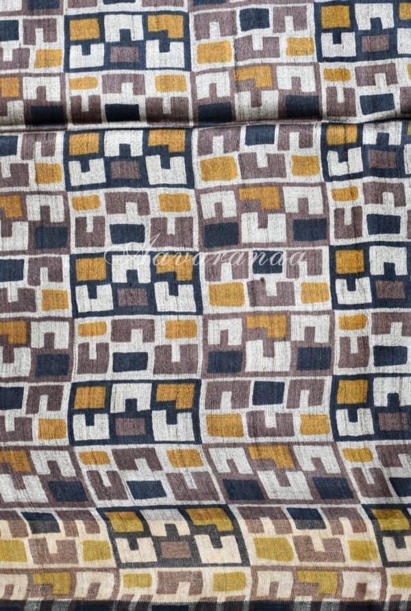 Light grey woven tussar saree-19214