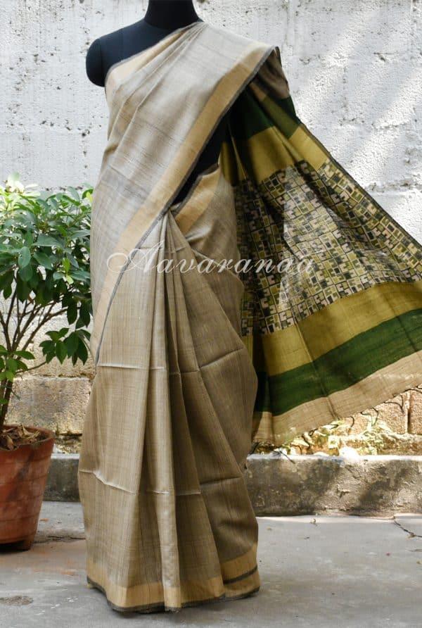 Light grey and green tussar saree-0