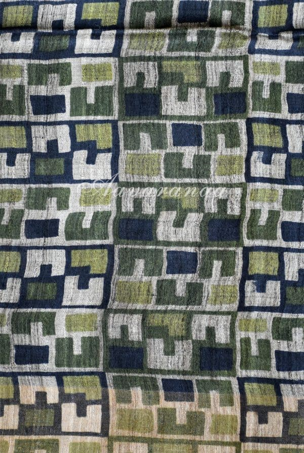 Light grey and green tussar saree-19215