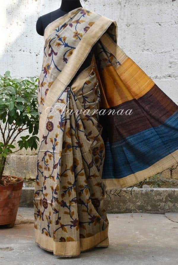 Light grey tussar with woven border saree-0