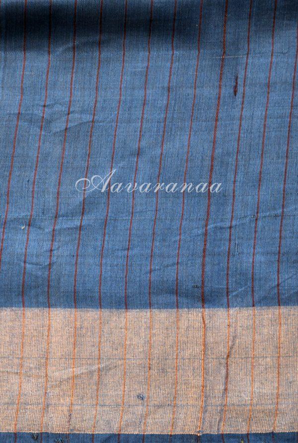 Light grey tussar with woven border saree-19226