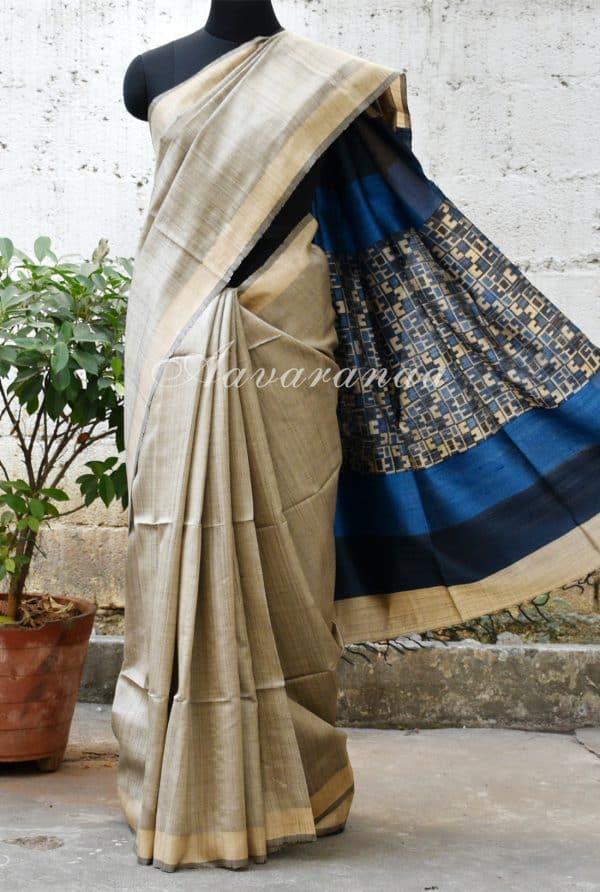 Grey and blue woven tussar saree-0