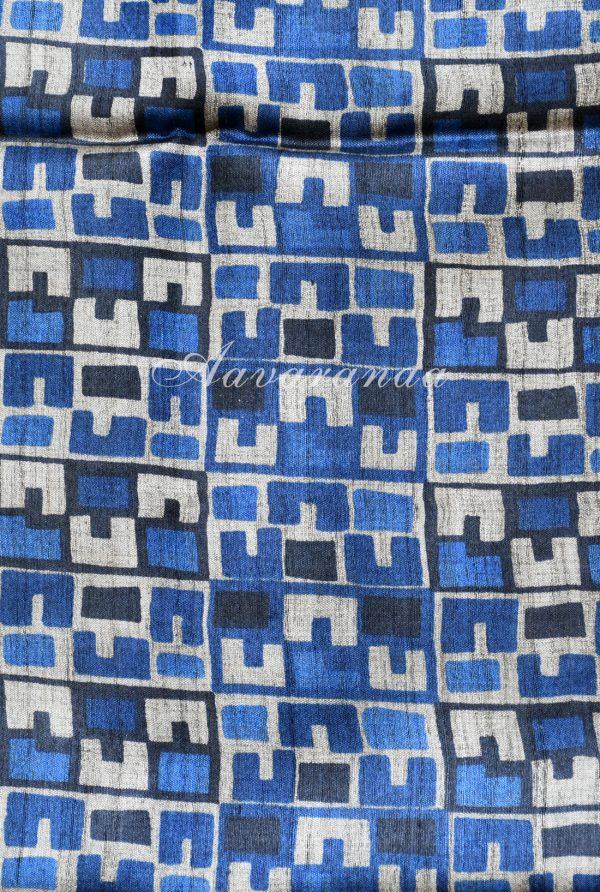 Grey and blue woven tussar saree-19234