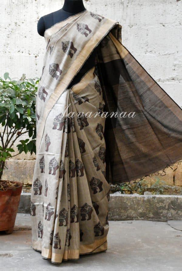 Grey tussar with kalamkari inspired printed saree-0