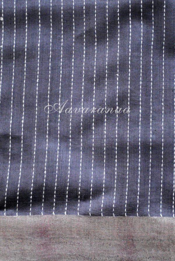 Grey tussar with kalamkari inspired printed saree-19245