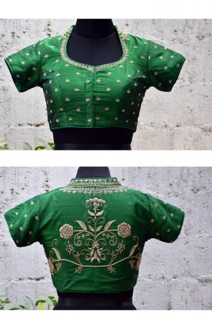 Green raw silk embroidered blouse-0