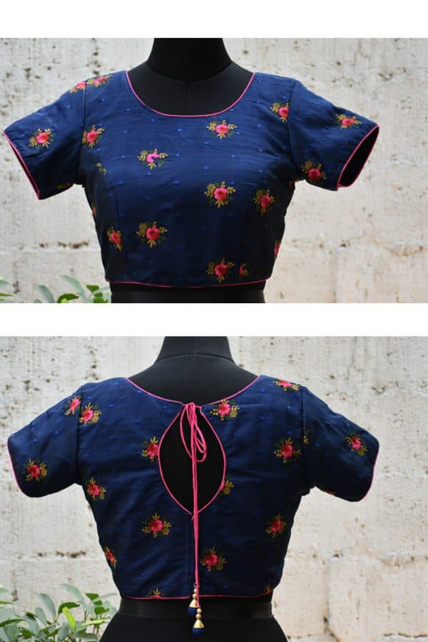 Blue raw silk floral embroidered blouse-0
