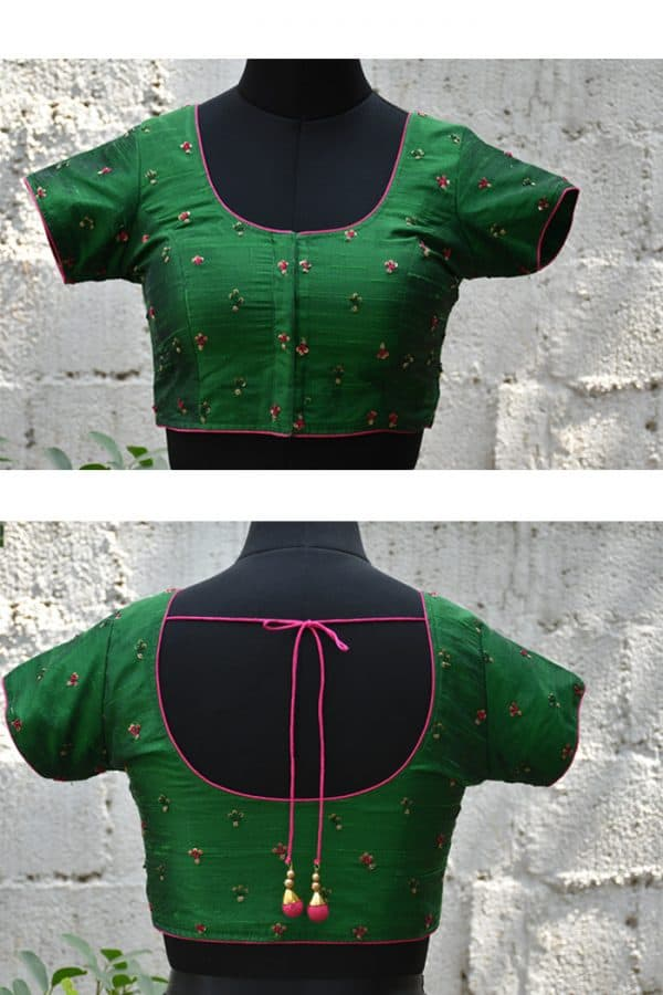 Green raw silk floral embroidered blouse-0
