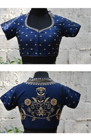 Blue raw silk embroidered blouse-0