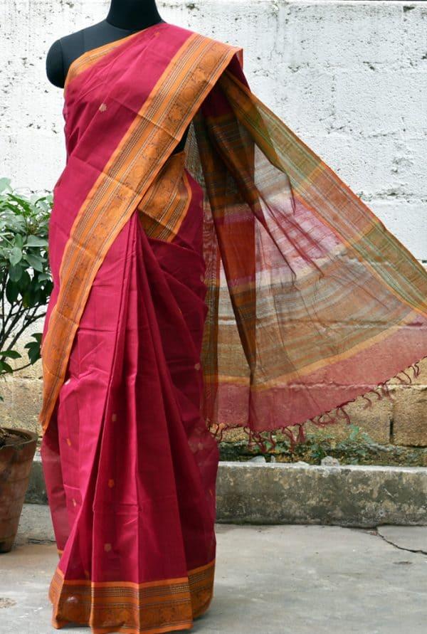 Maroon kanchi cotton saree-0