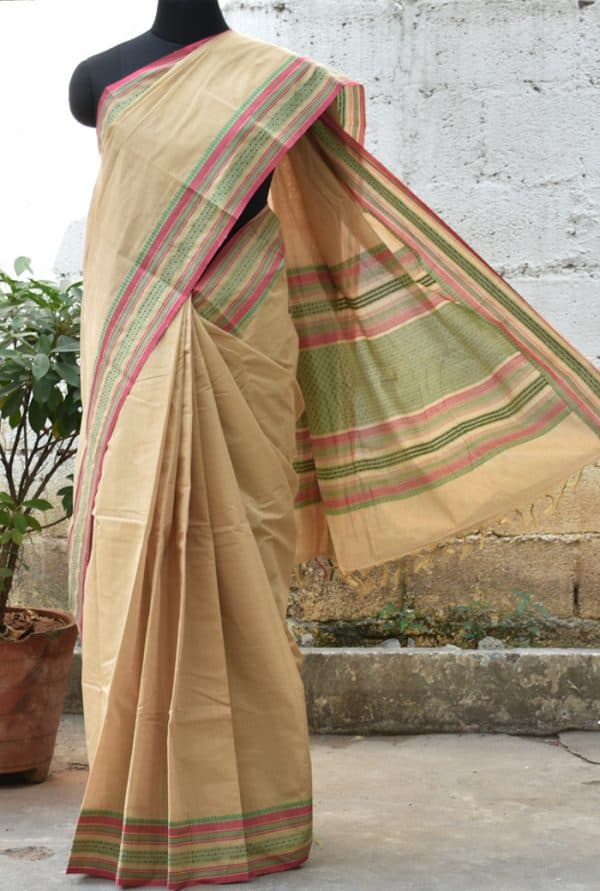 Beige kanchi cotton saree -0