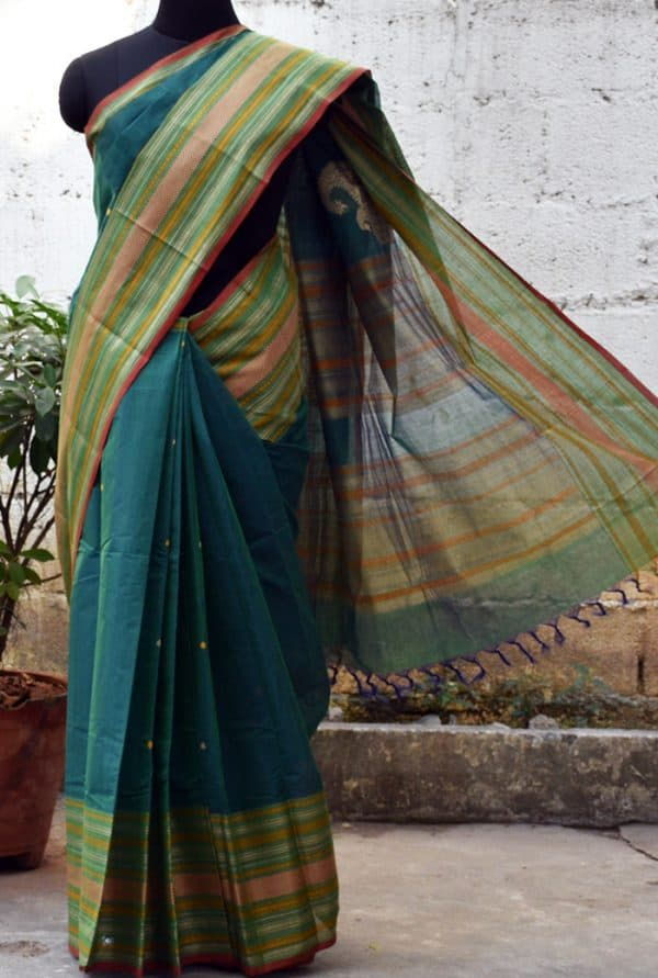Teal green kanchi cotton saree -0