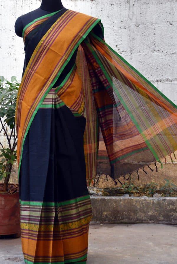 Black kanchi cotton woven saree -0