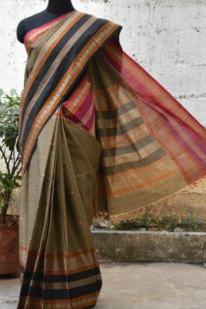 Grey kanchi cotton woven saree -0