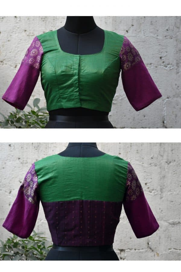 Green and purple fusion ready to wear blouse-0