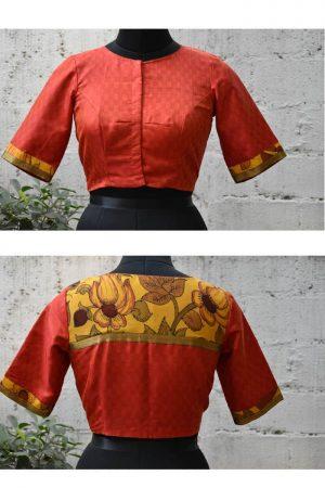Red matte kanchi silk and kalamkari blouse-0