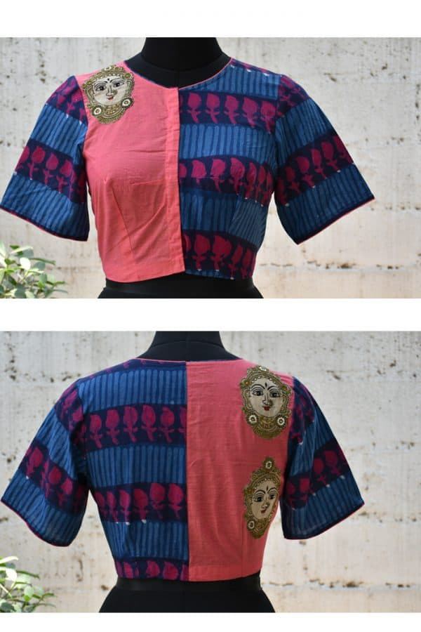 Blue and peach cotton kalamkari applique blouse-0