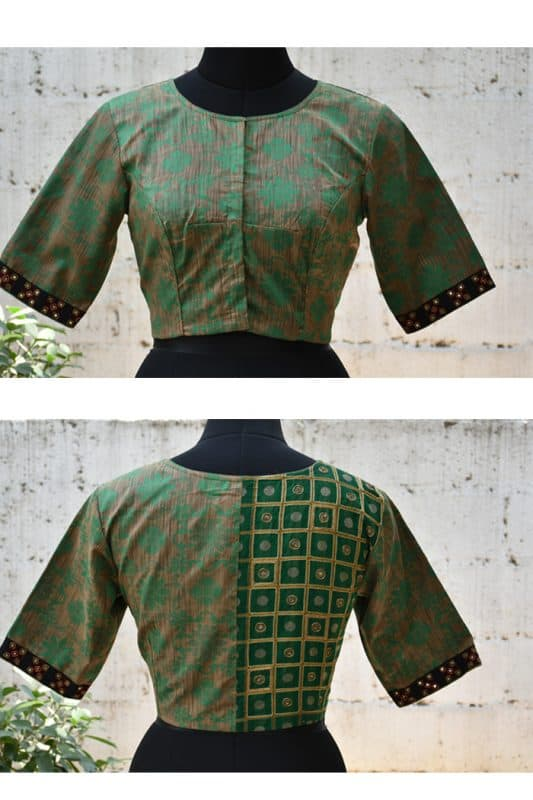 Green and grey embroidered blouse-0