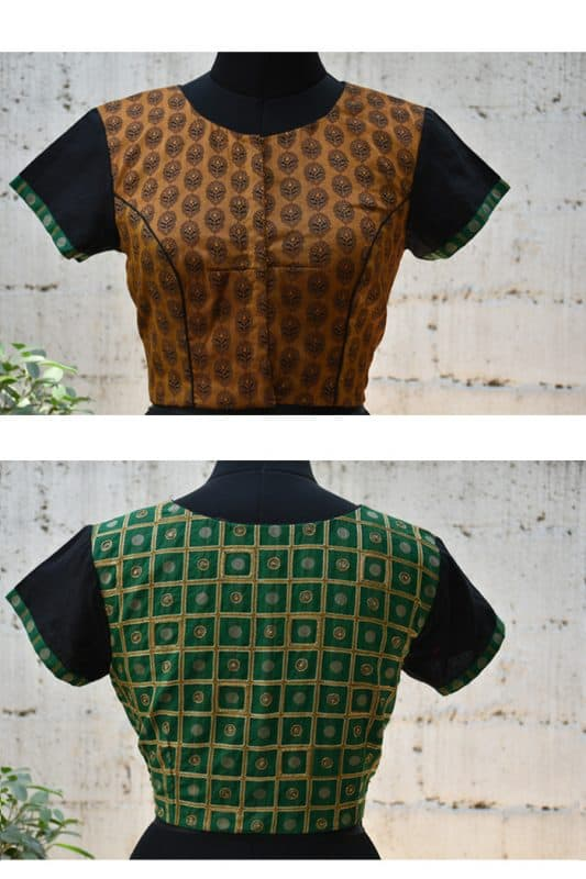 Brown and green embroidered banarus blouse-0