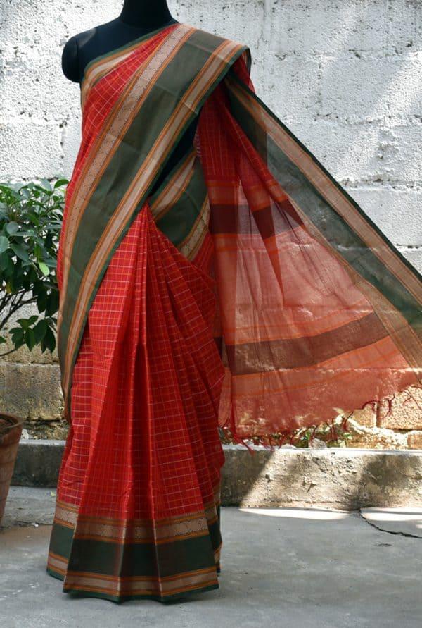 Red kanchi cotton woven saree -0