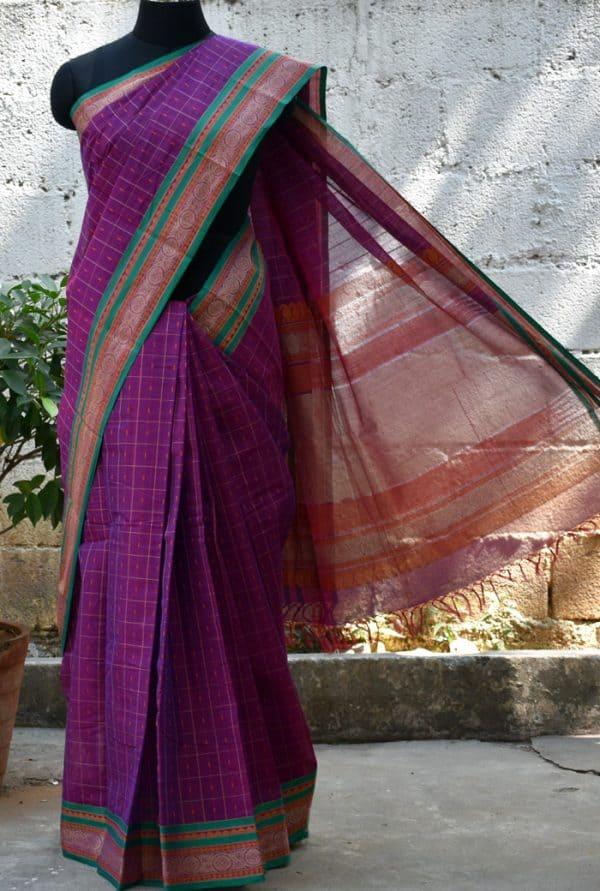 Purple checks kanchi cotton saree -0