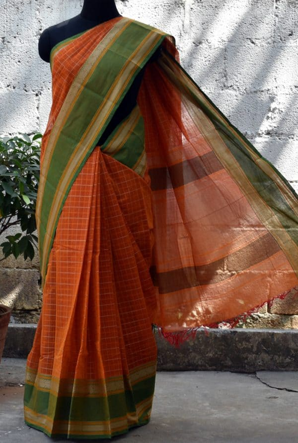 Rust orange checks kanchi cotton saree-0