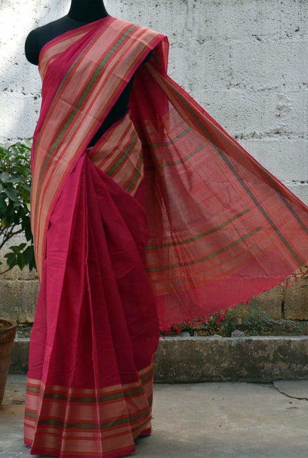 Tomato pink kanchi cotton woven saree -0