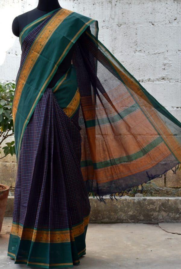 Blue checks woven kanchi cotton saree -0